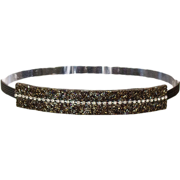 Embellished Headband - Green/Black Beads and Rhinestones