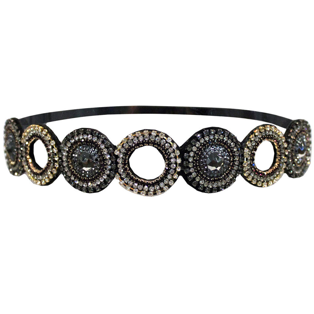 Mia® Embellished Headband - Black silver and gold circle cut-out design - designed by #MiaKaminski of #Mia Beauty #beauty #hair #headbands