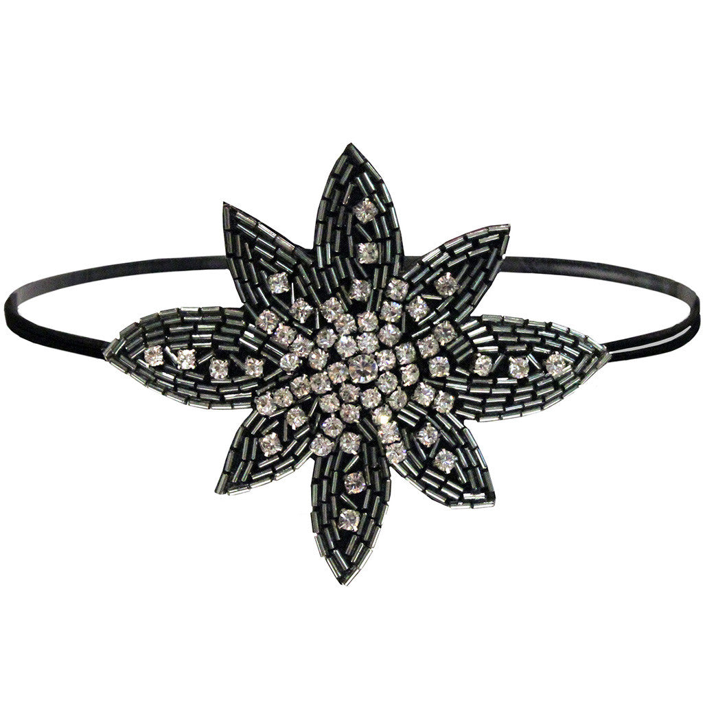 Mia® Embellished Headband – beaded flower  - designed by #MiaKaminski of #MiaBeauty #beauty #prettyheadbands #flowerheadbands