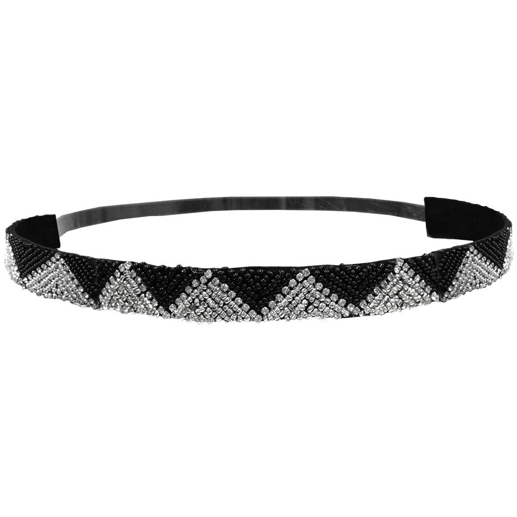 Mia® Embellished Headband - Black and Silver Zig Zag Triangle design - designed by #MiaKaminski of #Mia Beauty