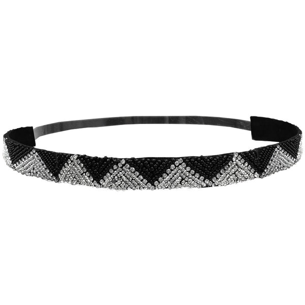 Embellished Headbands - Black&Silver Zig Zag Triangles