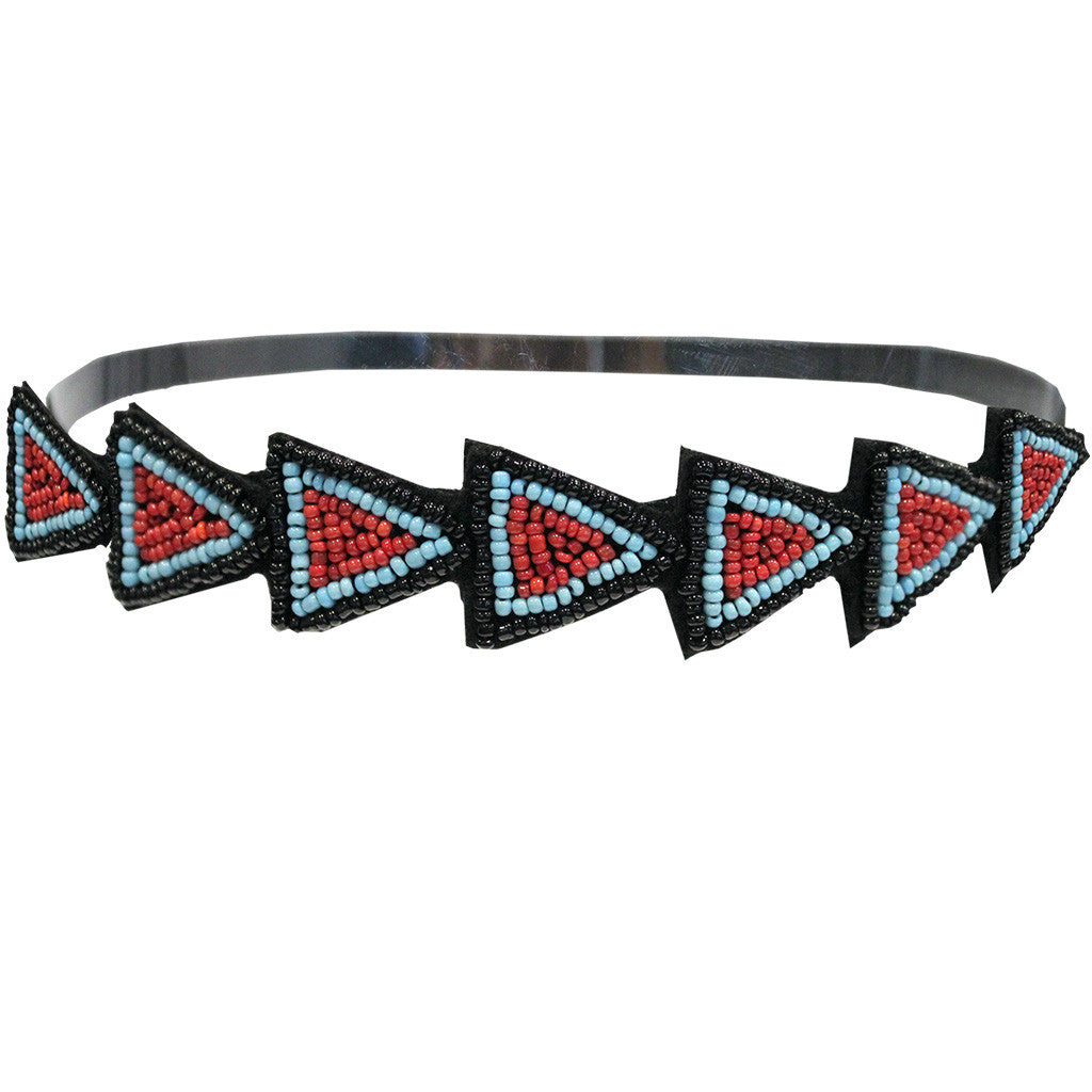 Mia® Embellished Headband - Red, Blue, Black beaded arrows - designed by #MiaKaminski of #MiaBeauty #Indianheadband #bohemianStyle #beadedheadbands