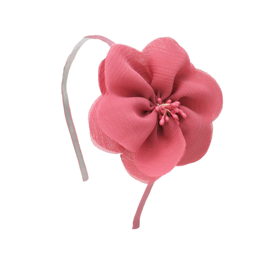 Ribbon Flower Headband - Light Pink - Mia Beauty