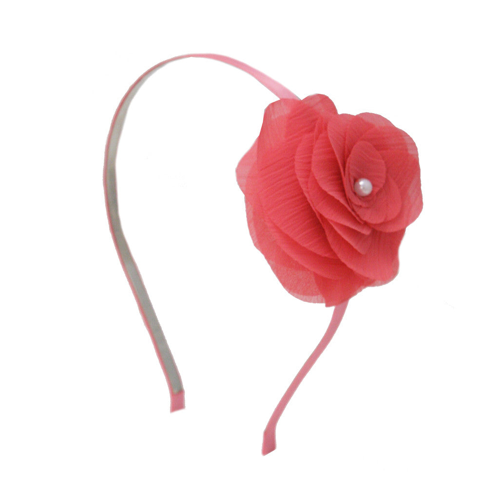 Pink Ribbon Flower Headband w/ Pearl - Mia Beauty