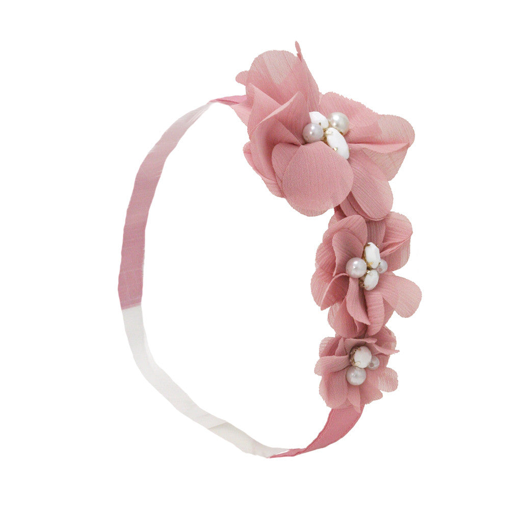 Mia® Triple Flower Headband w/ Pearl Centers - light pink - Mia Beauty #MiaKaminski #Mia #MiaBeauty #Beauty #Hair #HairAccessories #headbands #headwraps #lovethis #love #life #woman