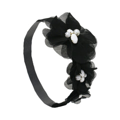 Triple Flower Soft Elastic Headband - Black - Mia Beauty