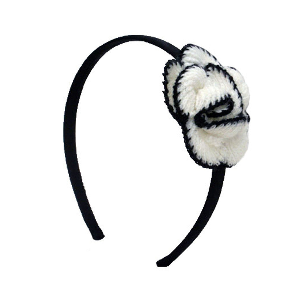 Mia® Black and White Crocheted Flower Headband - #MiaKaminski #Mia #MiaBeauty #Beauty #Hair #HairAccessories #headbands #lovethis #love #life #woman #flower