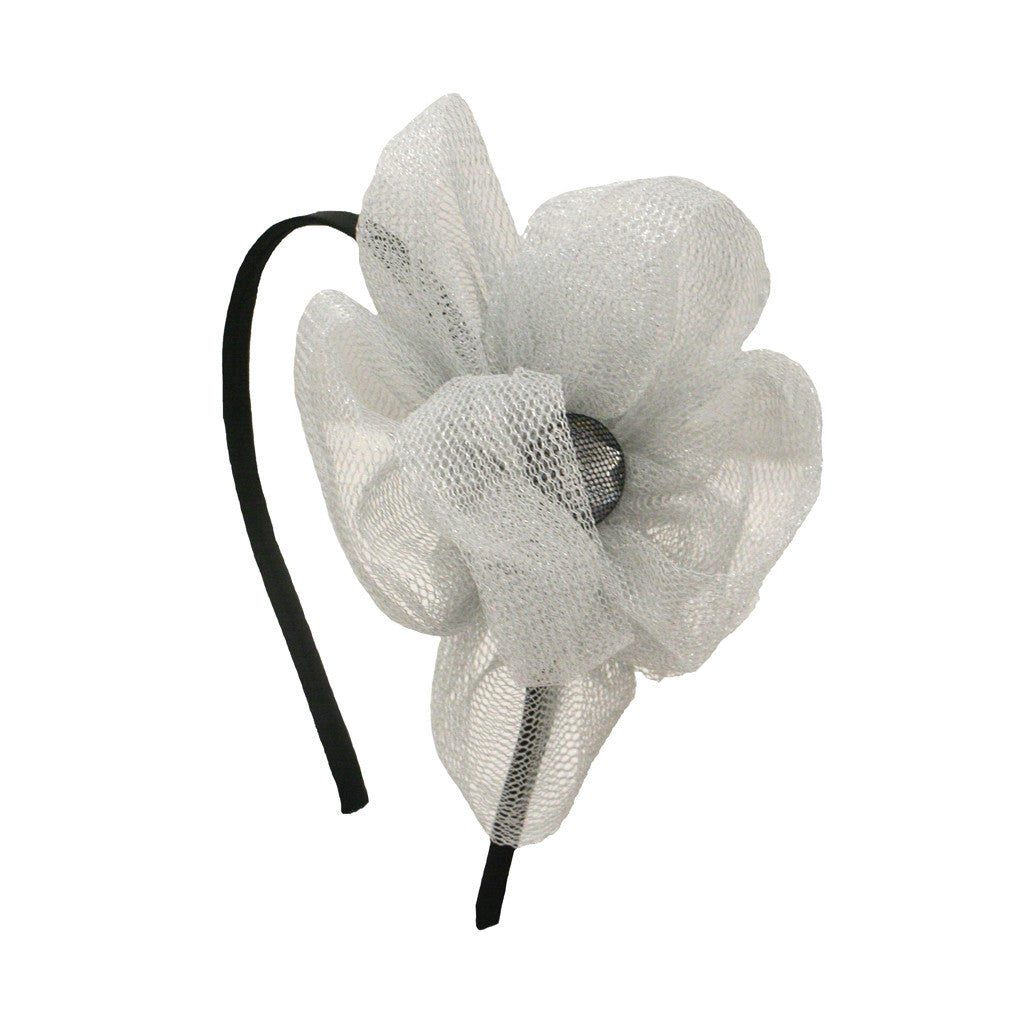 Mia® Silver Mesh Flower Headband with rhinestone center - #MiaKaminski #Mia #MiaBeauty #Beauty #Hair #HairAccessories #headbands #headwraps #lovethis #love #life #woman #flower