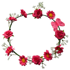 Mia® Flower Halo Headband Hair Accessory - pink daisies with butterfly - by #MiaKaminski #Mia #MiaBeauty #Beauty #Hair #HairAccessories #headbands #lovethis #love #life #woman #flowerhalo #festivals #coachella