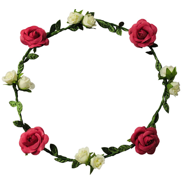 Flower Halo - Red + White Roses