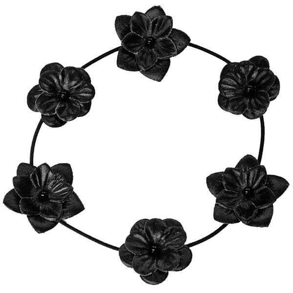 Flower Halos - Black Leather Flowers