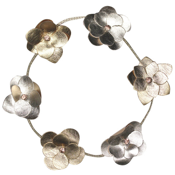 Leather Flower Halo - Gold