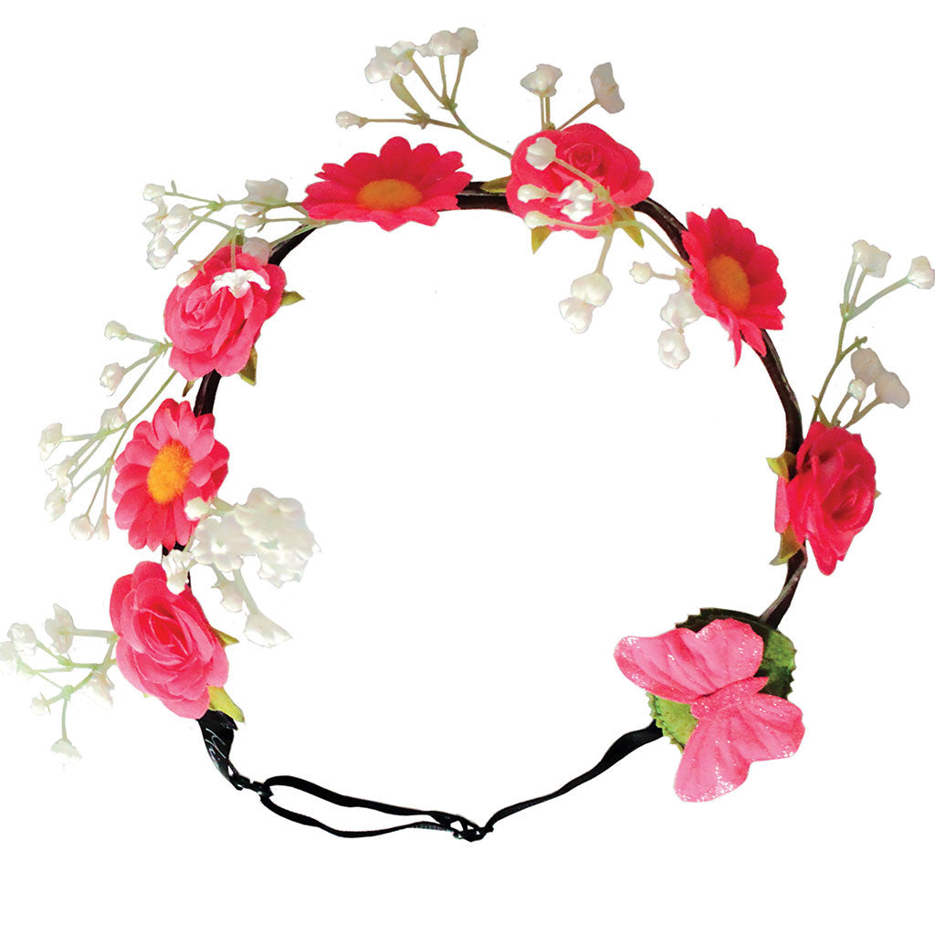 Mia® Beauty Flashion Flowers - LED Lighted Headband - Pink daisies on model from commerical