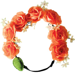 Mia® Flashion Flower Light Up Headband - large orange roses with orange lights - by #MiaKaminski #Mia #MiaBeauty #Beauty #Hair #HairAccessories #headbands #lovethis #love #life #woman #flowerhalo #LEDlightedheadband #festivals #coachella #AsSeenOnTV