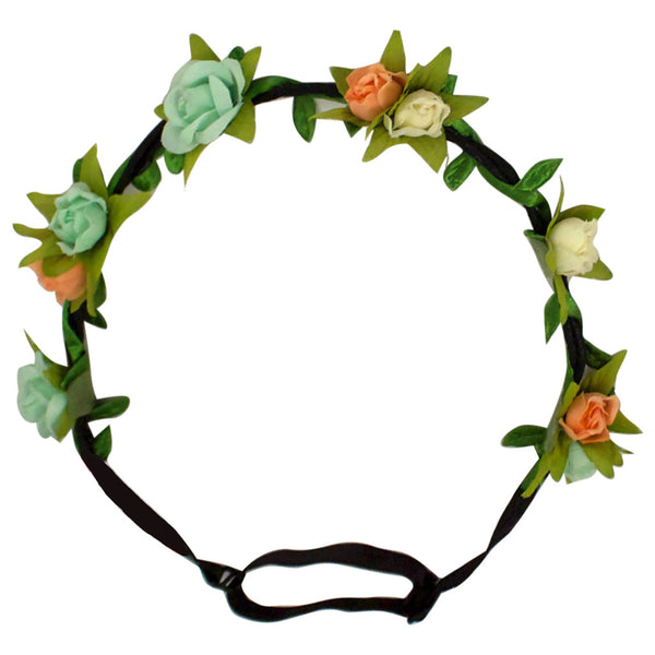 Flower Halos - Mint, Cream, and Peach Rosebuds - NEW