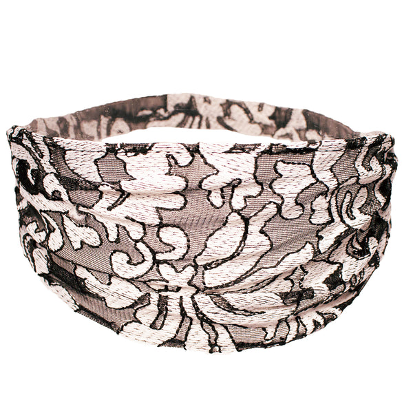 Lace Headwrap - Black with White Fleur de Lis