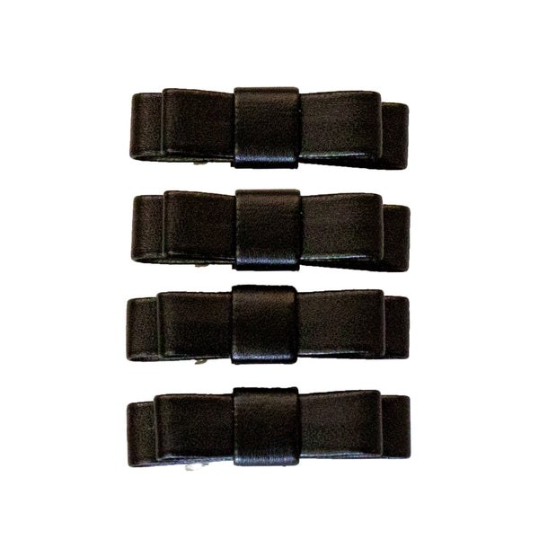 Leather Bow Barrettes - Black