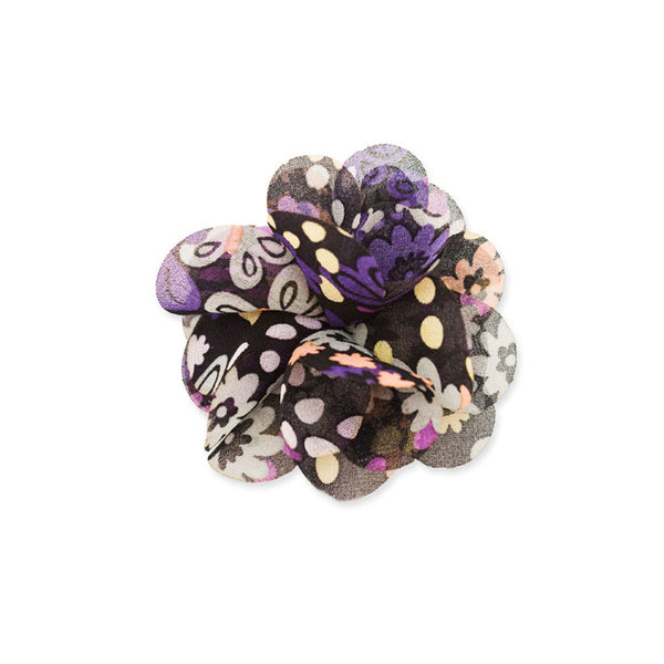 Small Flower Clip and Pin - Black Flower Print