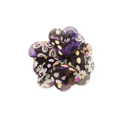 Small Flower Clip and Pin - Black Flower Print - Mia Beauty