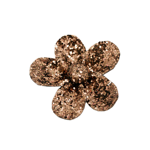 Small Flower Clip and Pin - Bronze Glitter