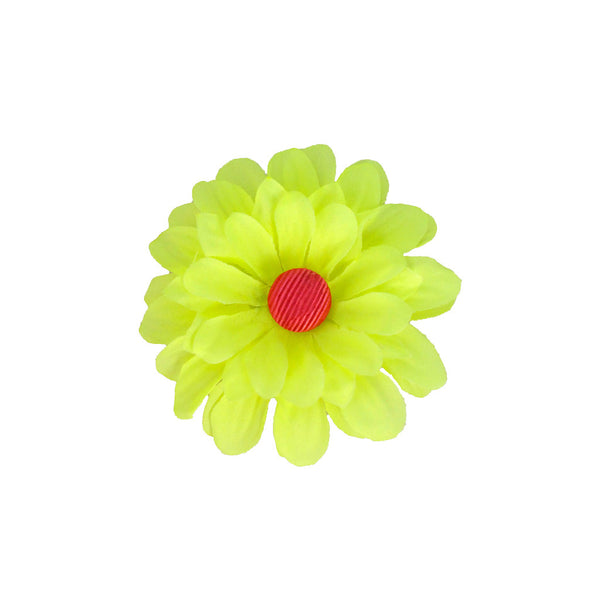 Flower Clip/Pin - Neon Chartreuse Daisy