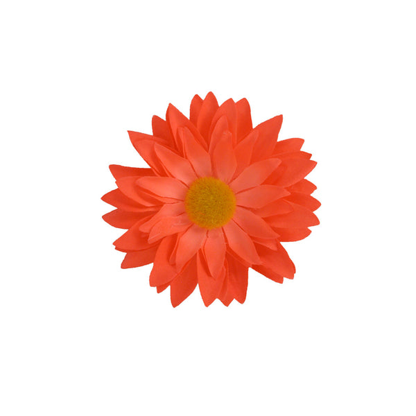 Flower Clip/Pin - Neon Orange Daisy