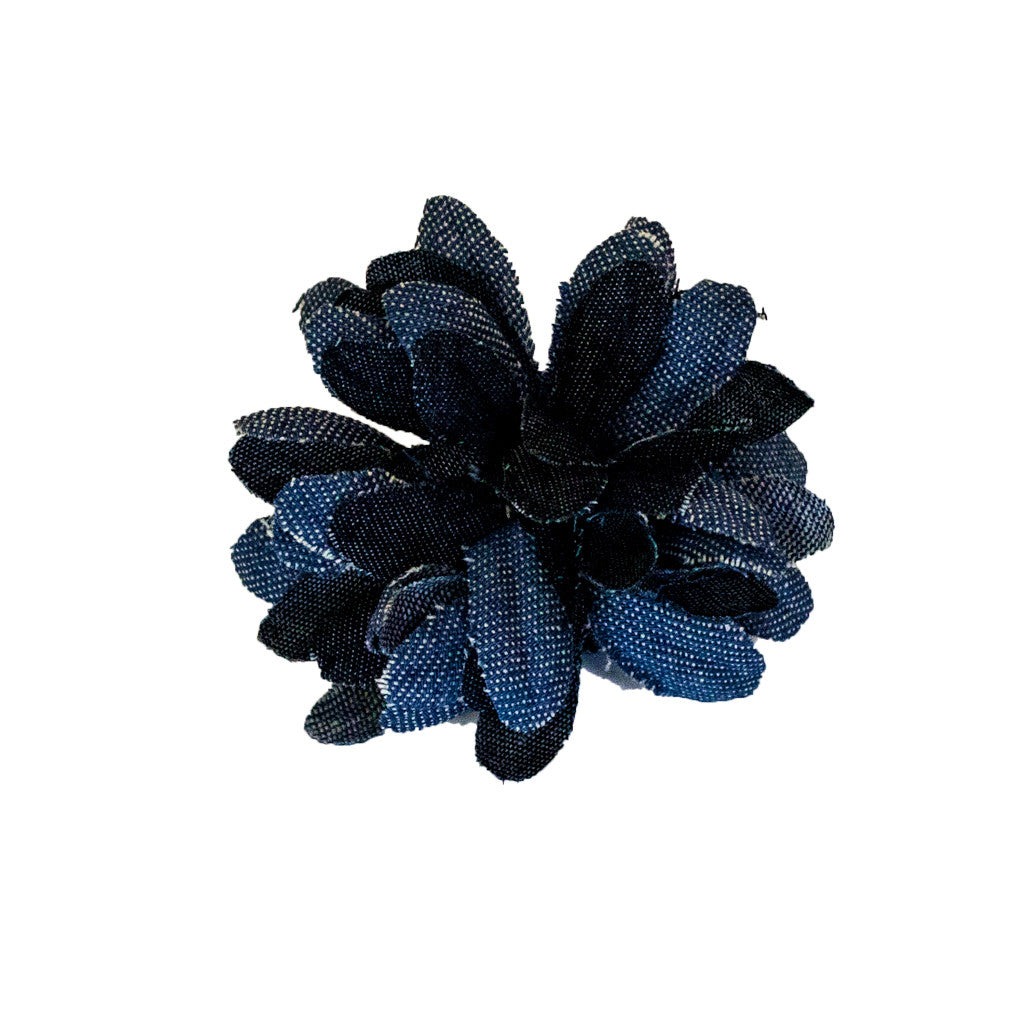 Flower Clip/Pin - Denim - Mia Beauty