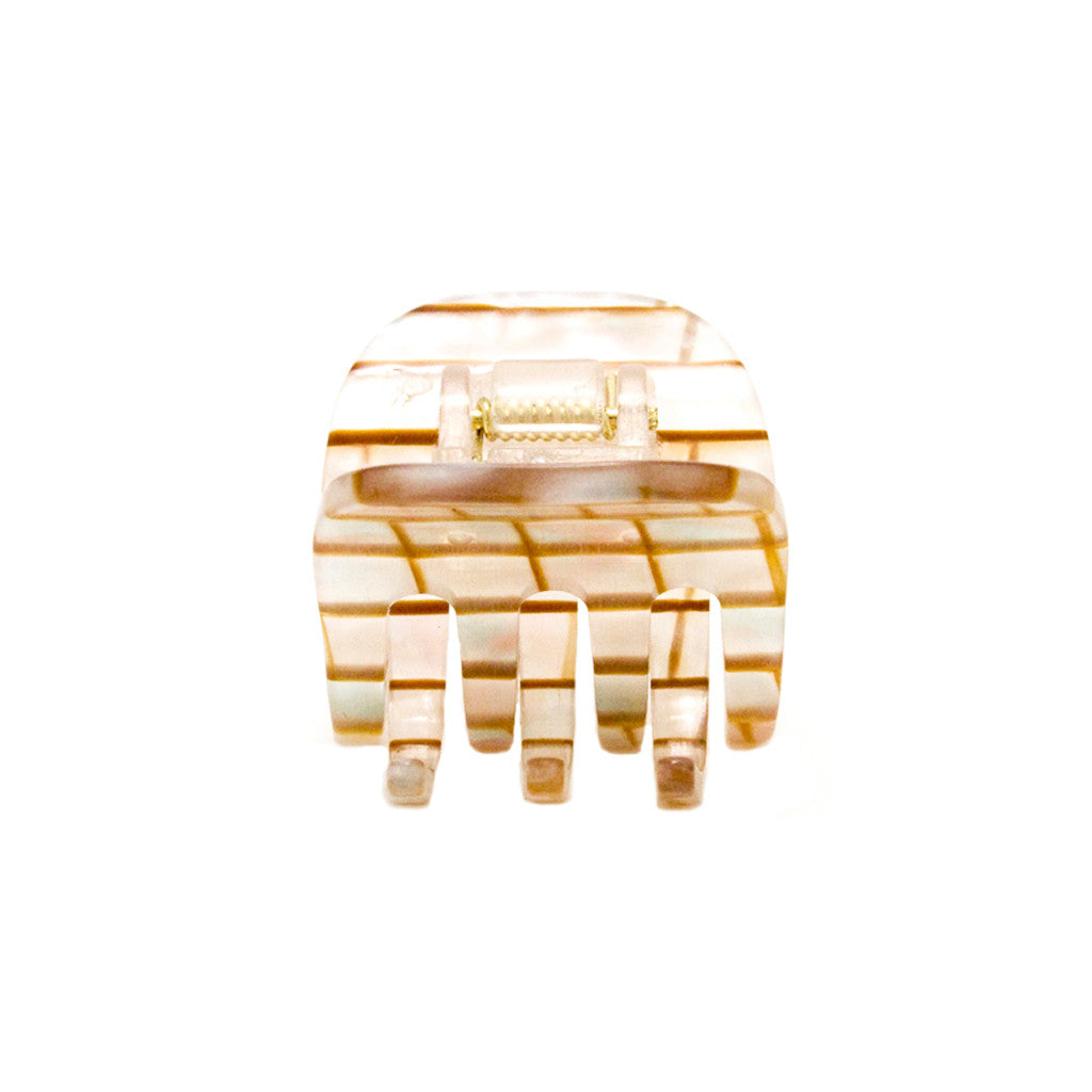 Small Pearlized w/ Gold Stripes Jaw Clamp - Mia Beauty