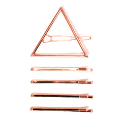 Triangle Clip - Metal Clip + Bobby Pins - Rose Gold