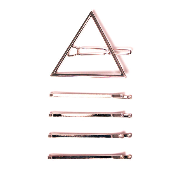 Metal Triangle Clip + Bobby Pins - Silver