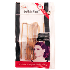 Mia® SqHair Pins - blonde color - 12 pieces - shown in zippered storage pouch - designed by #Mia Kaminski of Mia Beauty