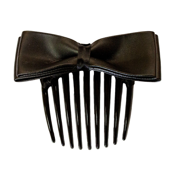 Hair Comb with Leather Bow - Black
