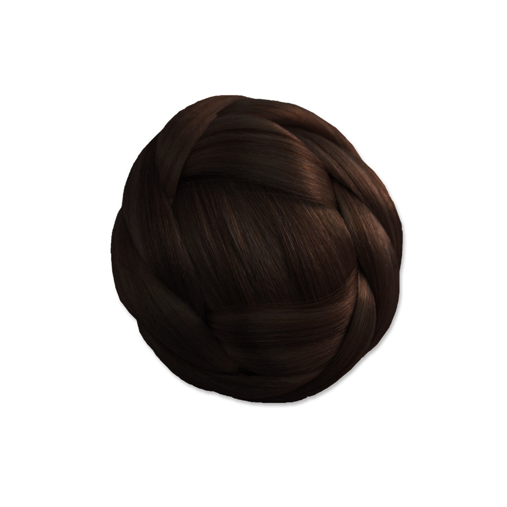 Mia® Clip-n-Bun® - dark brown color - 1 piece - desi/gned by #Mia Kaminski of Mia Beauty #MiaBeauty #Mia #Beauty #HairAccessories #SyntheticWigHair #buns #bunstylingtools