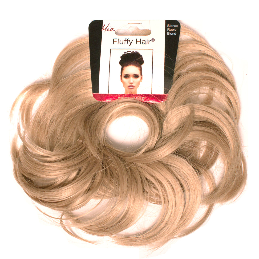 Mia® Fluffy Hair Ponywrap on packaging - blonde color - #MiaKaminski of #MiaBeauty