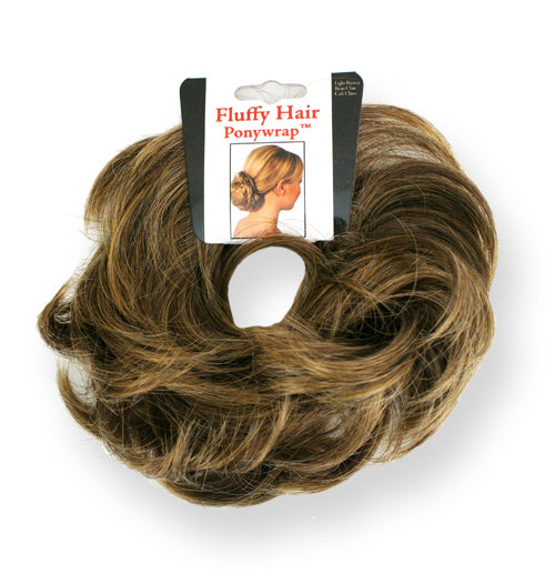 Mia® Fluffy Hair Ponywrap on packaging - light brown color - by #MiaKaminski of #MiaBeauty