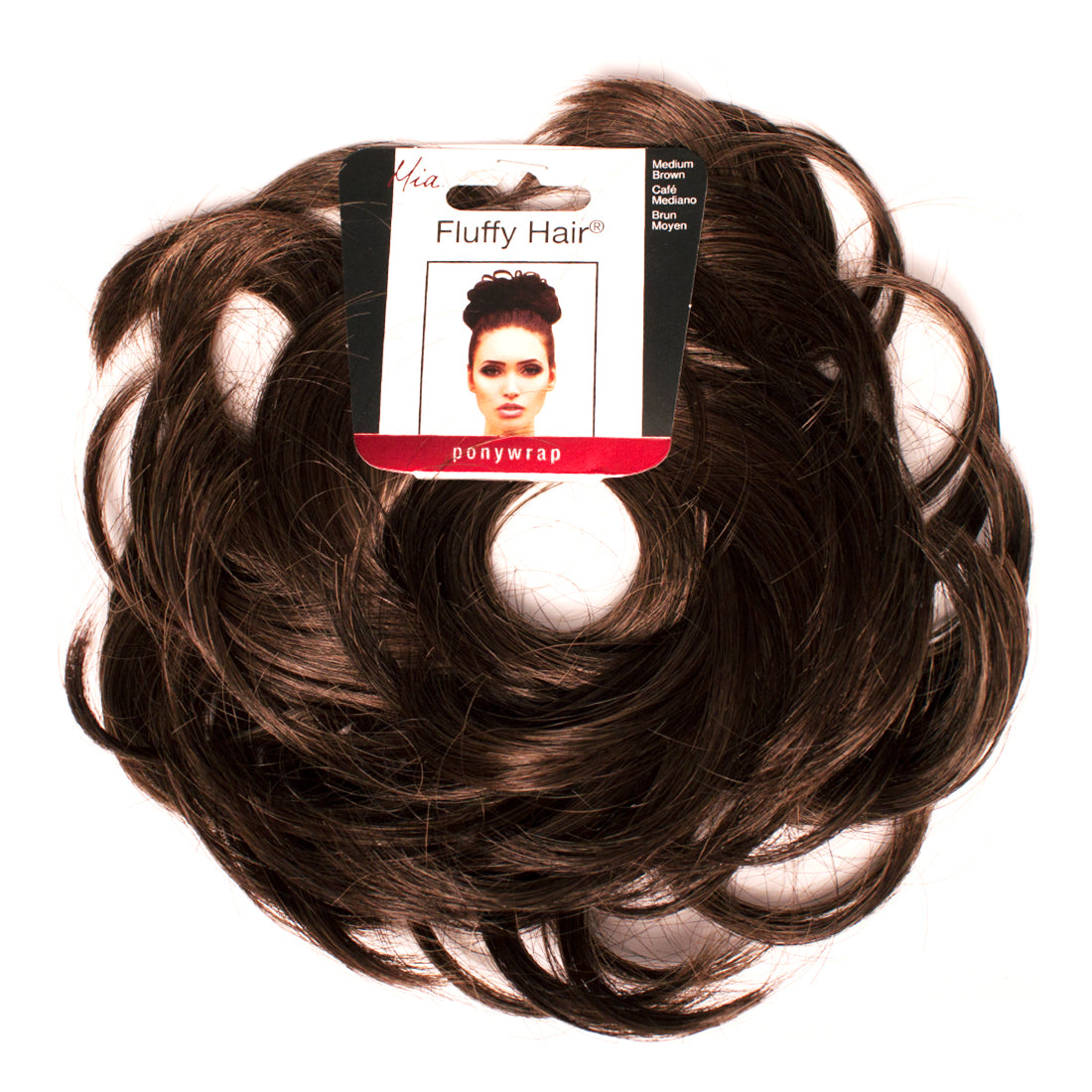 Mia® Fluffy Hair Ponywrap on packaging - medium brown color - by #MiaKaminski of #MiaBeauty
