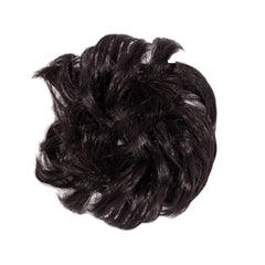 Mia® Fluffy Hair Ponywrap™ is a ponytailer made of synthetic wig hair on an elastic rubber band