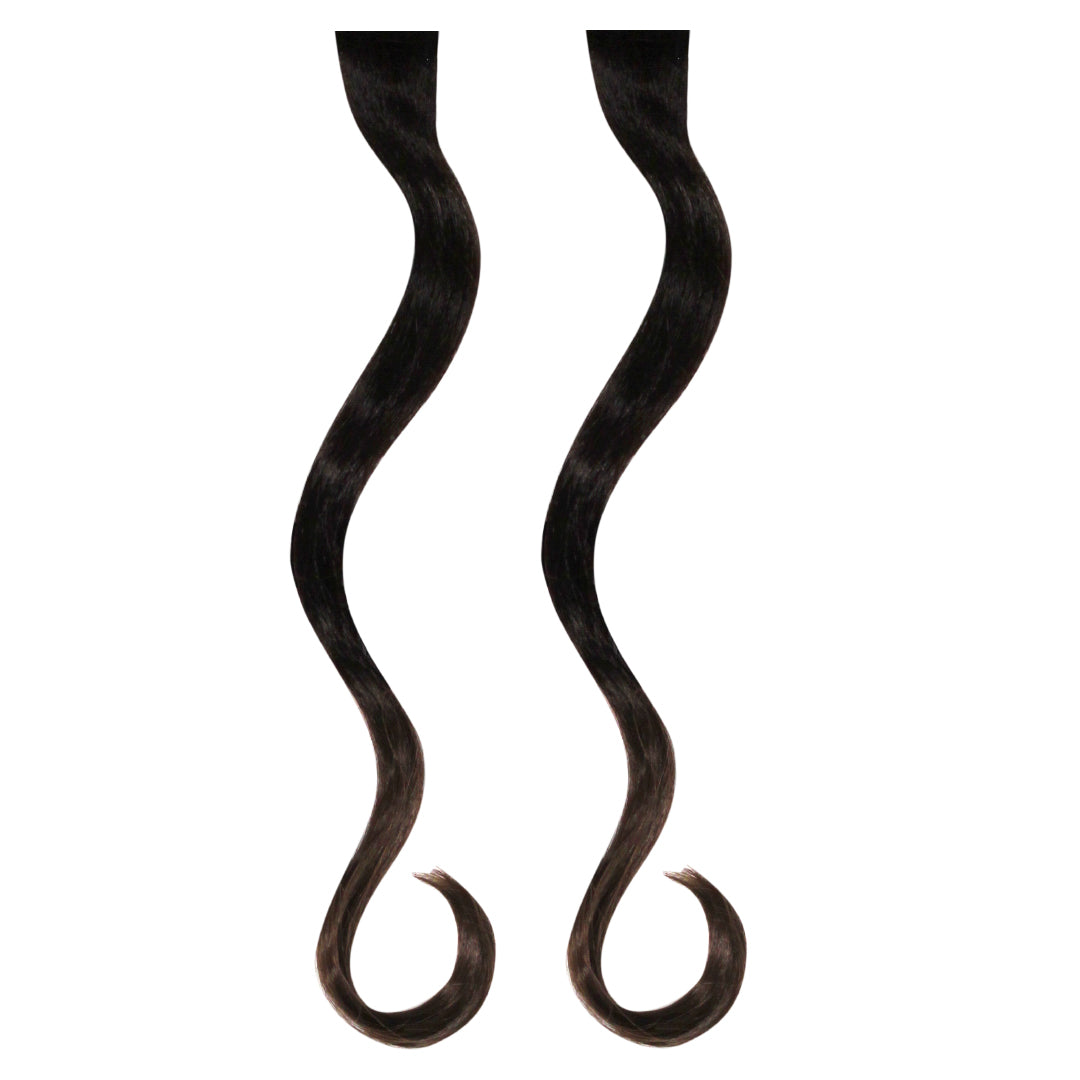Mia® Clip-n-Dipped Ends® - dark brown with medium brown ends ombre balayage effect on a weft clip - 2 pieces per package - shown on model - designed by #MiaKaminski #MiaBeauty #HairExtensionsClipON #OmbreHairExtensions