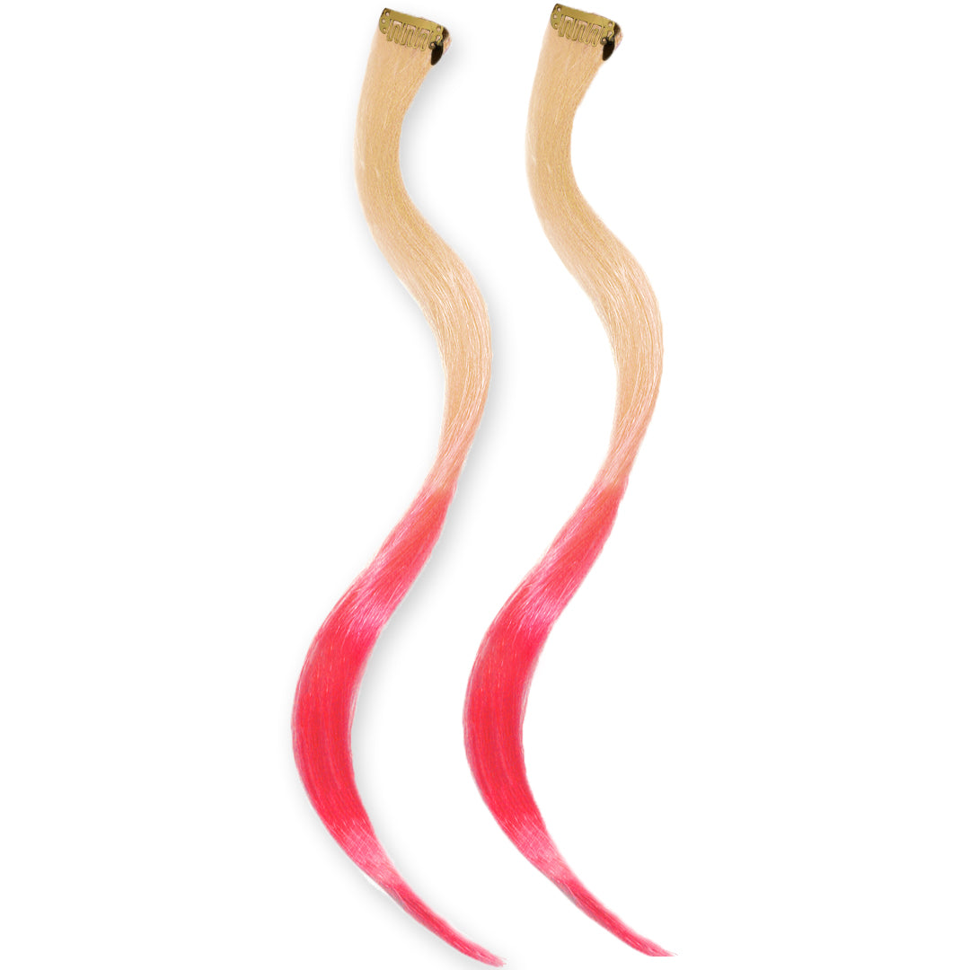 Mia® Clip-n-Dipped Ends® - blonde with pink ends ombre balayage effect on a weft clip - 2 pieces per package - designed by #MiaKaminski #MiaBeauty #HairExtensionsClipON