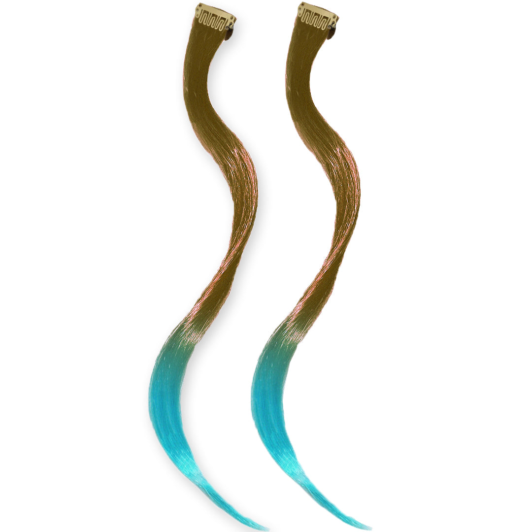 Mia® Clip-n-Dipped Ends® - medium brown with blue ends ombre balayage effect on a weft clip - 2 pieces per package - designed by #MiaKaminski #MiaBeauty #HairExtensionsClipON #OmbreHairExtensions