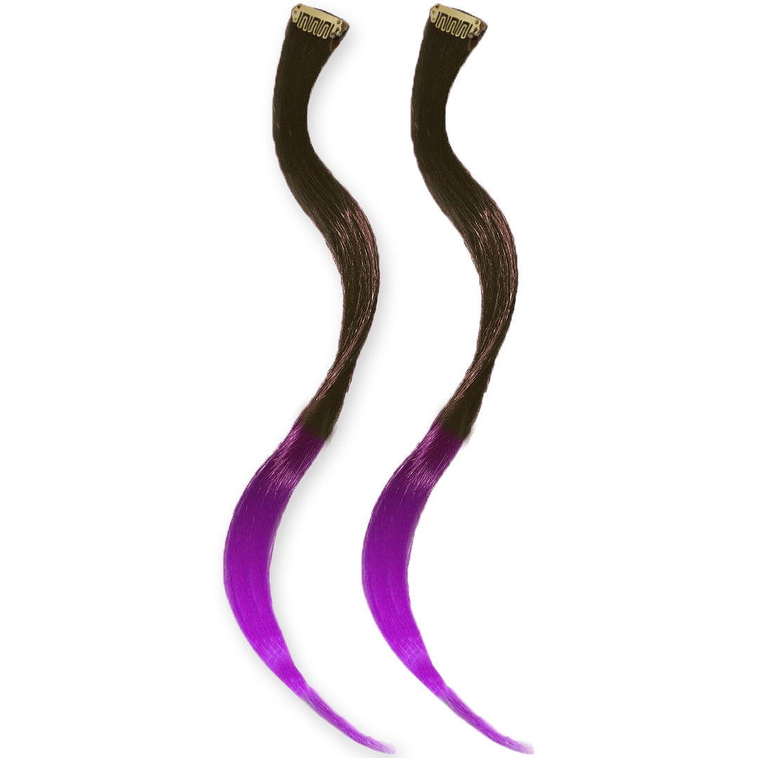 Mia® Clip-n-Dipped Ends® - dark brown with purple ends ombre balayage effect on a weft clip - 2 pieces per package - designed by #MiaKaminski #MiaBeauty #HairExtensionsClipON #OmbreHairExtension