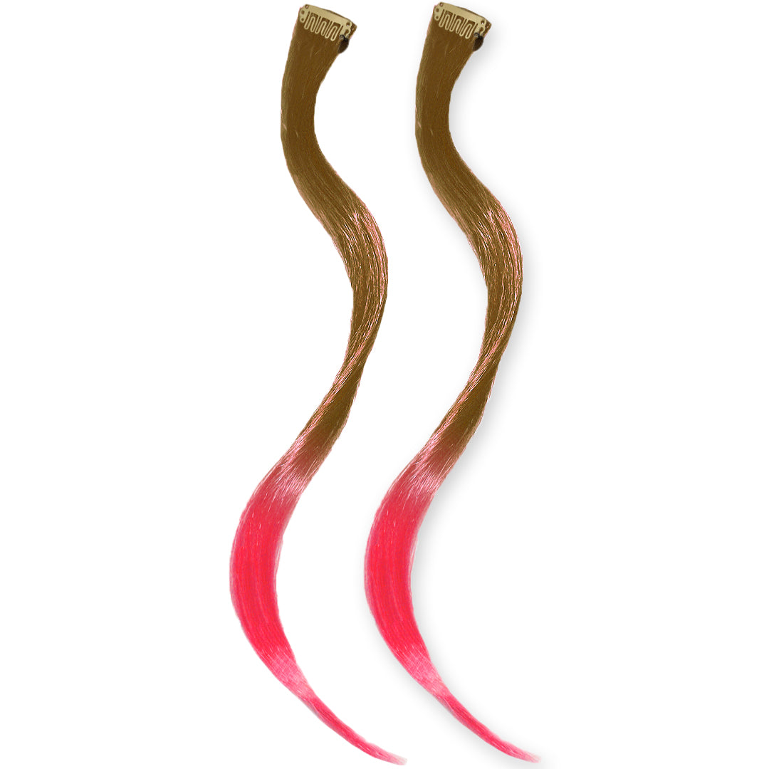 Mia® Clip-n-Dipped Ends® - medium brown with pinks ends ombre balayage effect on a weft clip - 2 pieces per package - designed by #MiaKaminski #MiaBeauty #HairExtensionsClipOn #OmbreHairExtensions