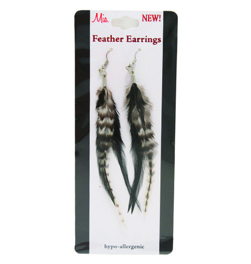 Feather Earrings - Black and White/Natural - Mia Beauty