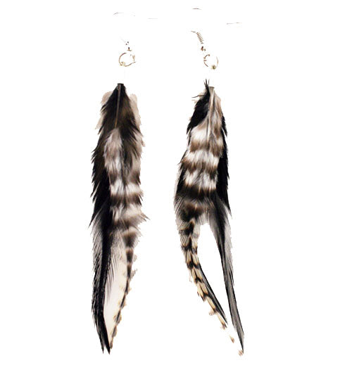 Feather Earrings - Black and White