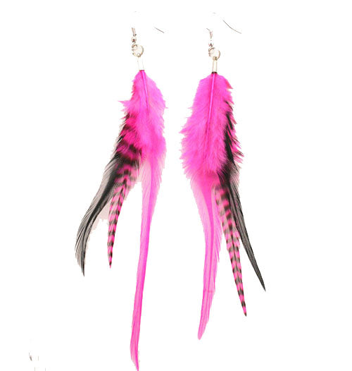 Feather Earrings - Hot Pink