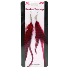 Mia® Feather Earrings - red color - shown on packaging - by #MiaKamimnski of Mia Beauty
