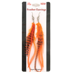 Mia® Feather Earrings - orange color shown on packaging - by #MiaKamimnski of Mia Beauty