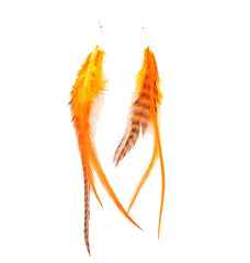 Mia® Feather Earrings - orange color - by #MiaKamimnski of Mia Beauty