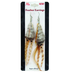 Mia® Feather Earrings - Ginger brown on packaging - by #MiaKamimnski of Mia Beauty