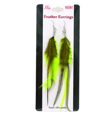 Mia® Feather Earrings - Lime Green on packaging - by #MiaKamimnski of Mia Beauty